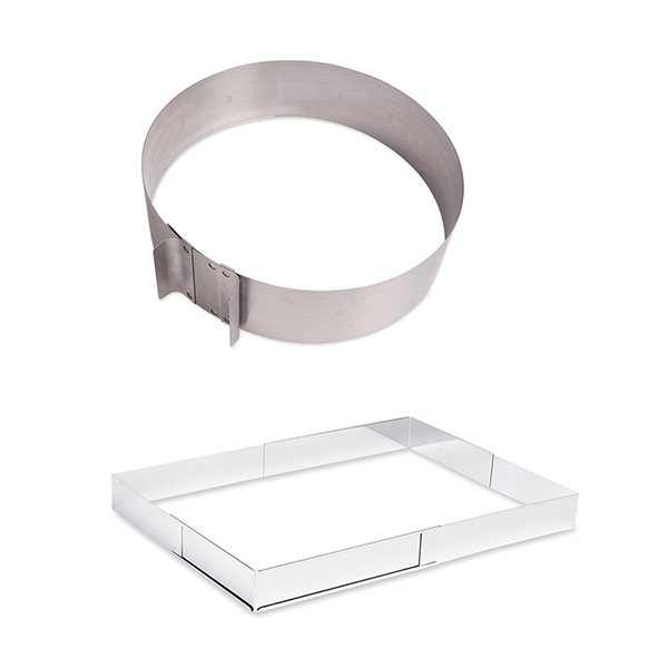 Lot cercle et rectangle à gâteau extensibles Mathon zoom