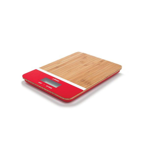 Balance de cuisine bambou rouge rectangulaire pebbly - Balance de cuisine rouge ...