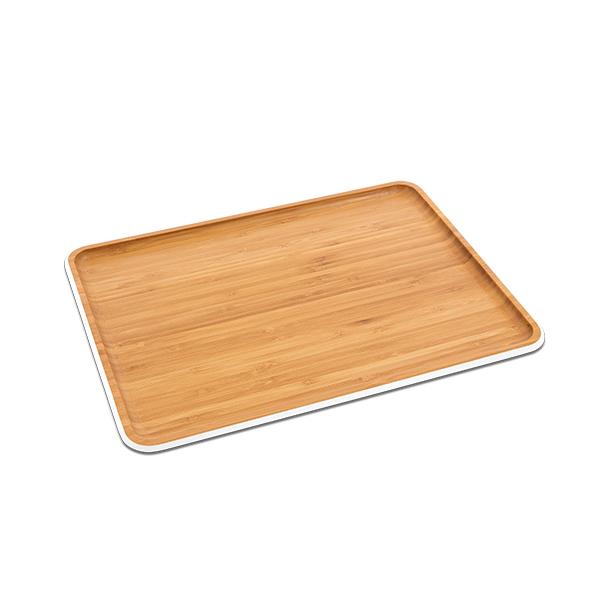 plateau de service bambou rectangulaire 40 cm blanc pebbly vaisselle et service table art. Black Bedroom Furniture Sets. Home Design Ideas