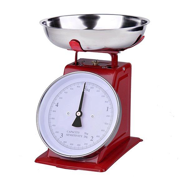 Balance de cuisine m canique rouge 5 kg balances et for Ustensile de cuisine rouge