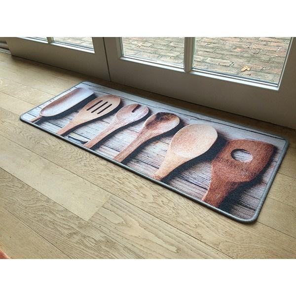 tapis de cuisine motif service bois 120 cm. Black Bedroom Furniture Sets. Home Design Ideas