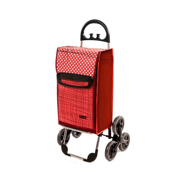 Chariot de courses 6 roues rouge chariots et paniers de courses art de la table et jardin - Chariot de course 3 roues ...