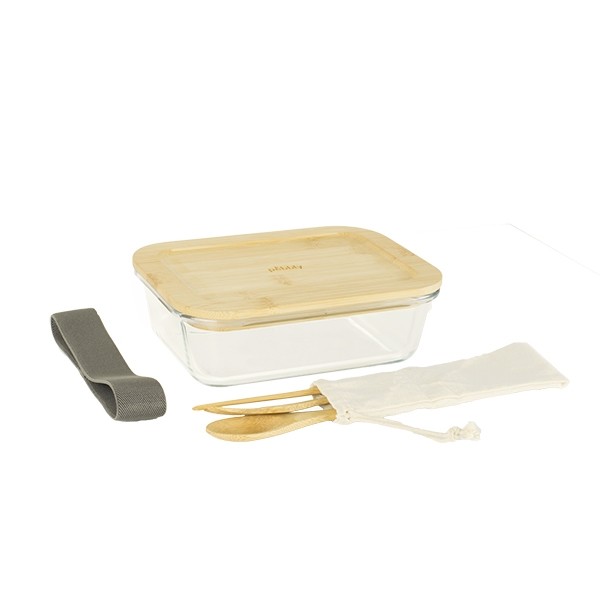Lunch box avec 3 couverts bambou Pebbly zoom