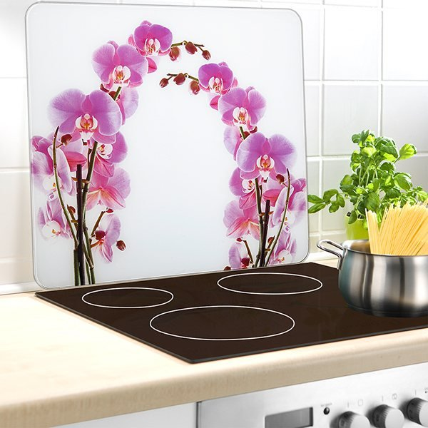 protection murale en verre orchid e protection plaques de cuisson cr dence organisation de. Black Bedroom Furniture Sets. Home Design Ideas