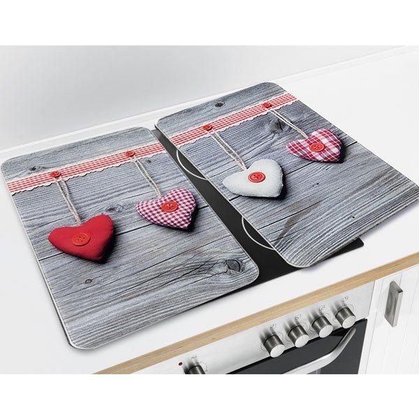 set 2 couvre plaques protection motifs coeurs. Black Bedroom Furniture Sets. Home Design Ideas