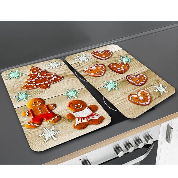 set 2 couvre plaques protection motifs pain pices. Black Bedroom Furniture Sets. Home Design Ideas