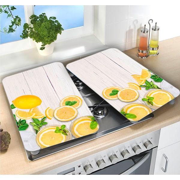 Set 2 couvre plaques protection motif citrons protection - Plaque de protection murale pour cuisine ...