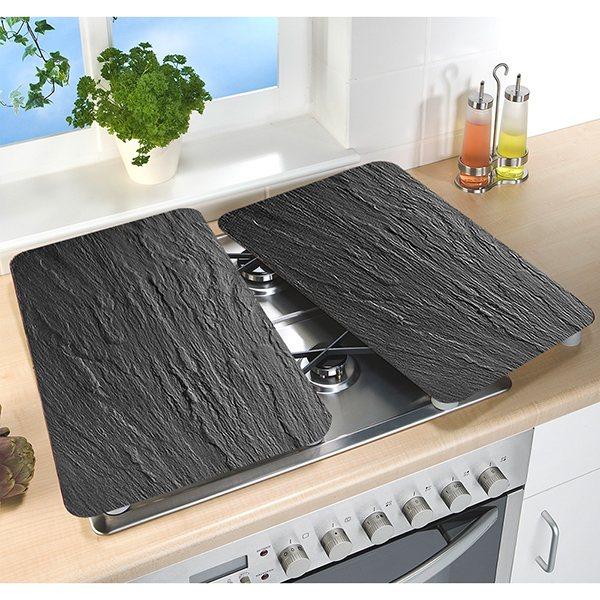 set 2 couvre plaques protection en verre motifs ardoise. Black Bedroom Furniture Sets. Home Design Ideas