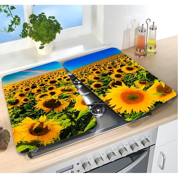2 couvre-plaques protection motifs Tournesol zoom