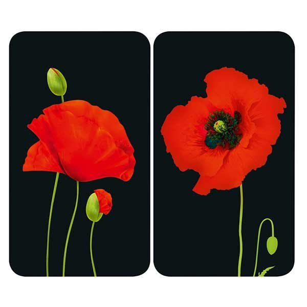 2 couvre-plaques protection motif coquelicots zoom