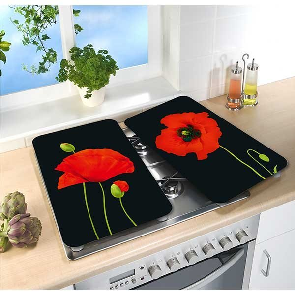 2 couvre plaques protection motif coquelicots protection - Plaque de protection murale pour cuisine ...