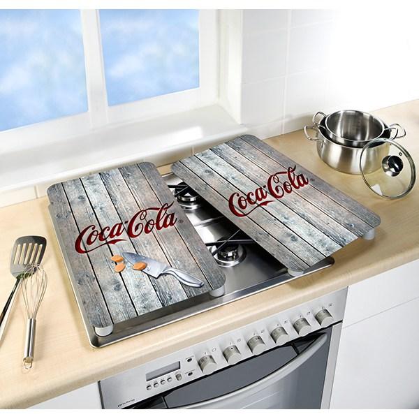 Set 2 Couvre Plaques Protection Motifs Coca Cola Wood