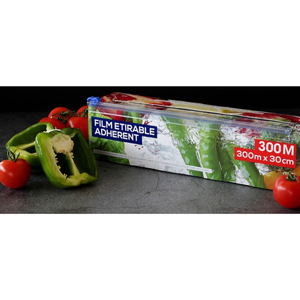 Rouleau film tirable alimentaire 300 m tres bo tes et - Film etirable alimentaire cuisine ...