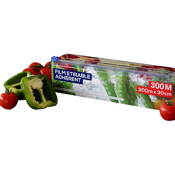 Rouleau film tirable alimentaire 300 m tres bo tes et accessoires de conservation - Film etirable alimentaire cuisine ...