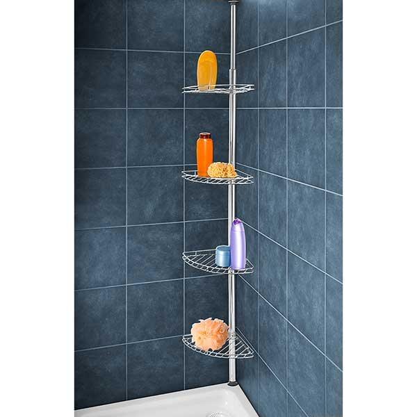 Etag re pour douche t lescopique en inox am nagement de la salle de bain organisation de la - Etagere de douche telescopique inox ...