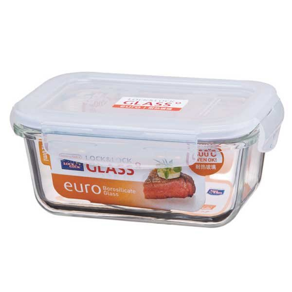 Bo te plat en verre rectangulaire avec couvercle 630 ml for Boite ustensile cuisine