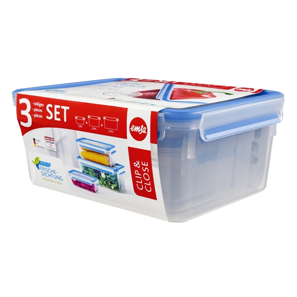 Set de 3 boîtes rectangulaires Clip & Close bleu 1 2,3 3,7 L Emsa zoom