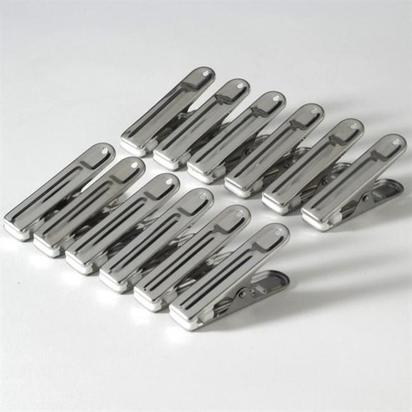 12 pinces sachets en inox 6 cm bo tes et accessoires for Accessoires de cuisine en inox