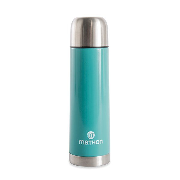 Bouteille tasse isotherme en inox turquoise 0,5 L Mathon zoom