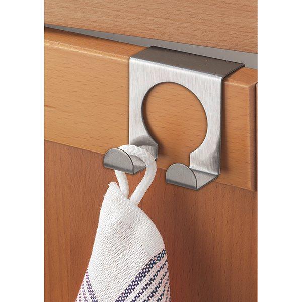 2 crochets de porte doubles en inox wenko etag res et for Porte ustensiles de cuisine inox