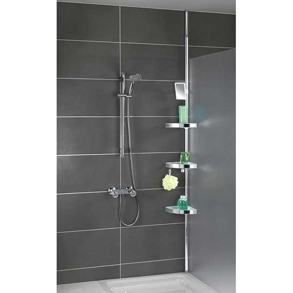 Etag re de douche t lescopique inox am nagement de la for Etagere salle de bain telescopique