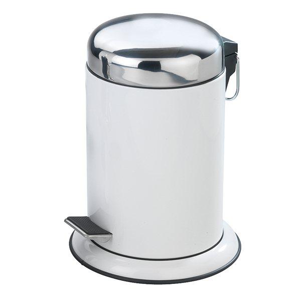 Poubelle p dale inox retoro blanc 3 l am nagement de for Poubelle salle de bain inox