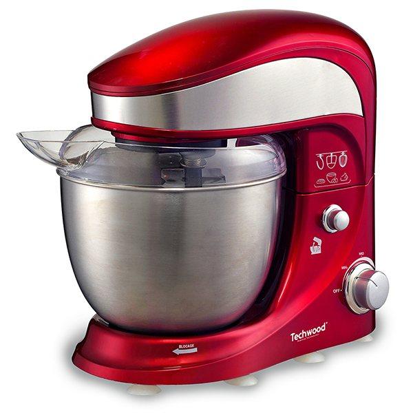 Robot p trin bol inox rouge 4 l 500 w techwood robots de cuisine multifonctions petit - Robot de cuisine petrin ...