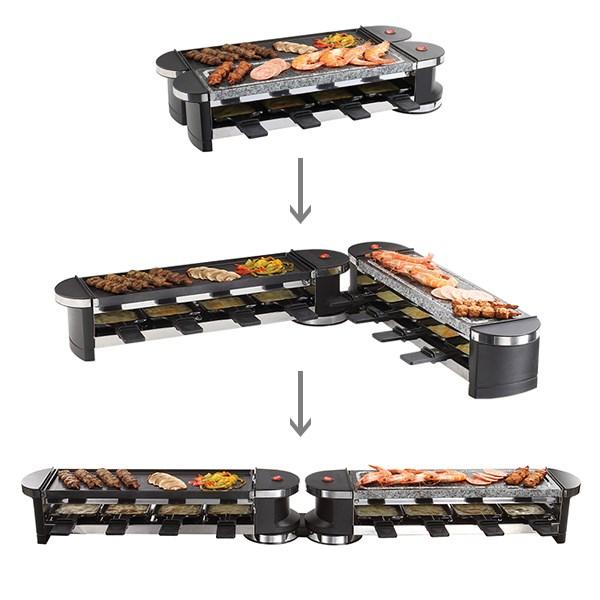 appareil raclette et gril modulable 4 ou 8 personnes. Black Bedroom Furniture Sets. Home Design Ideas