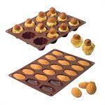 Lot de 2 Flexi'moules : 1 plaque 18 madeleines + 1 plaque 12 briochettes