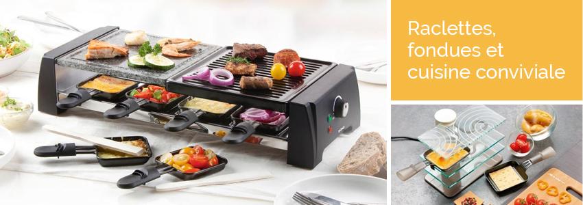 Appareil raclette et fondue electrom nager for Appareil cuisine conviviale